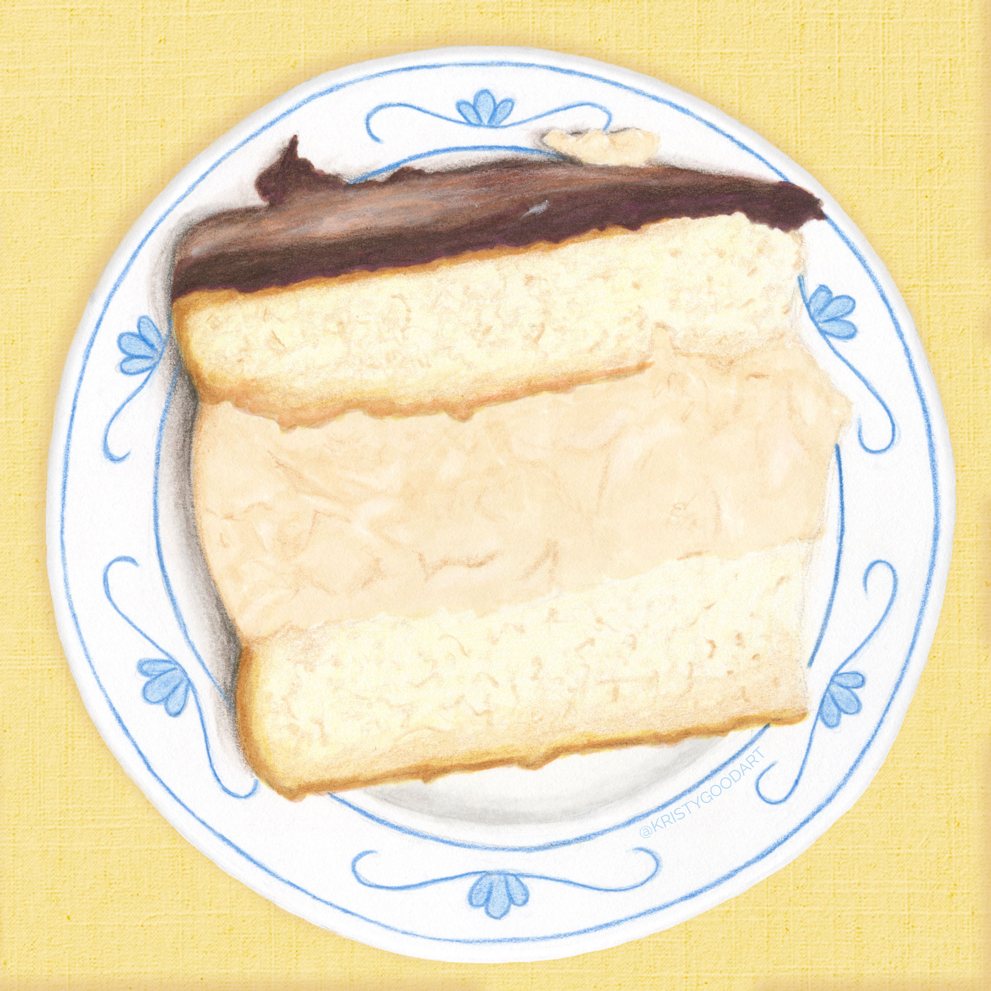 boston cream pie illustration